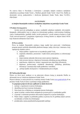 Javni poziv za dodjelu finansijskih sredstava medijskim