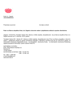 Kraš dd, Zagreb OIB:94989605030 Priopćenje za javnost Za objavu