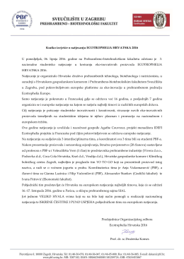 Kratko izvješće o natjecanju Ecotrophelia Hrvatska 2016