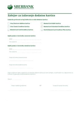 Zahtjev za izdavanje dodatne kartice