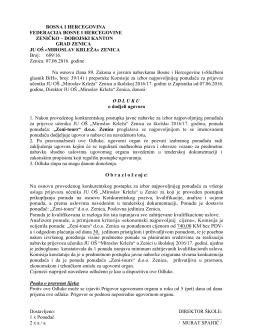 Odluka o dodjeli ugovora 2016