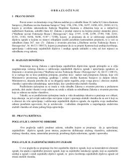 OBRAZLO Ž ENJEI - PRAVNI OSNOV Pravni osnov za donošenje