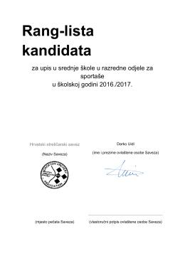 Obrazac za kriterije 2016. - Hrvatski streličarski savez