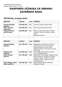 raspored učenika za obranu završnog rada