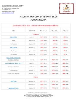 akcijska ponuda za termin 16.06. jonska regija