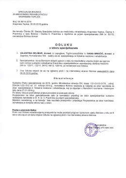 Odluka - Specijalna bolnica za medicinsku rehabilitaciju Krapinske