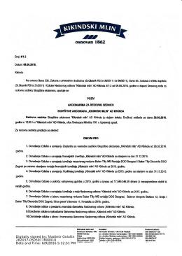 Poziv akcionarima za redovnu sednicu Skupštine