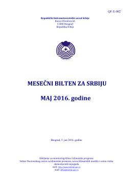MESEČNI BILTEN ZA SRBIJU MAJ 2016. godine