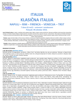 Klasična ITALIJA avio-bus 09.10 - Turistička agencija Big Blue