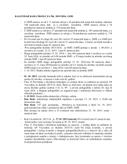 Kalendar rada tokom školske 2015/16. godine