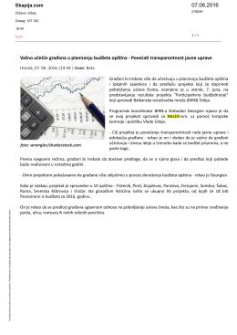 08.06.2016. Važno učešće građana u planiranju budžeta