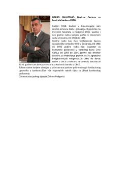 DARKO BULATOVIĆ- Direktor Sectora za kontrolu banka u CBCG