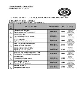 Raspored ispita za junski ispitni rok