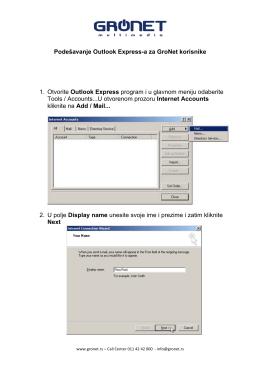 Podešavanje Outlook Express-a za GroNet korisnike 1. Otvorite