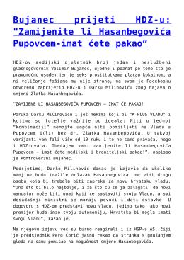 """Bujanec prijeti HDZ-u: """"Zamijenite li Hasanbegovića"""