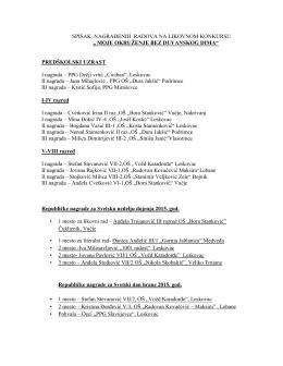 """spisak nagrađenih radova na likovnom konkursu """"moje okruženje"""