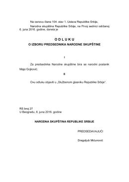 Odluka o izboru predsednika Narodne skupštine