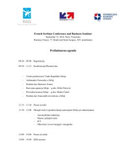 Preliminarna agenda događaja