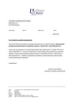 Zrušenie verejného obstarávania Dňa 03.05.2016 bol