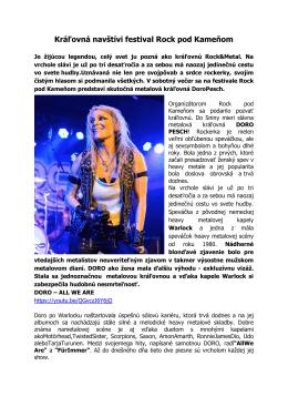 Kráľovná navštívi festival Rock pod Kameňom