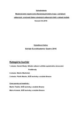 Kategória kuchár - Rimavská Sobota