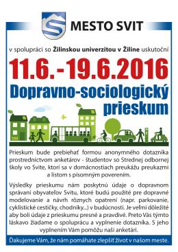 19.6.2016 Dopravno-sociologický prieskum