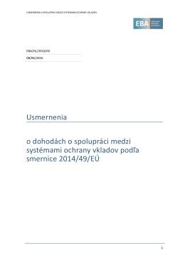 Usmernenia o dohodách o spolupráci medzi systémami