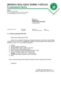 Zasadnutie VR PF UPJŠ - Univerzita Pavla Jozefa Šafárika v