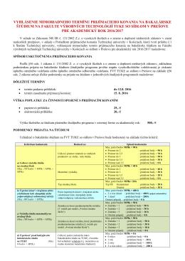 Bakalárske štúdium - Fakulta výrobných technológií
