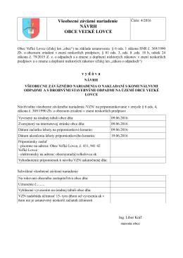Návrh VZN č. 4-2016 o nakladaní s komunálnymi