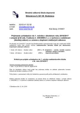 Stredná odborná škola dopravná Sklenárova 9, 821 09 Bratislava