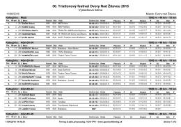 30. Triatlonový festival Dvory Nad Žitavou 2016