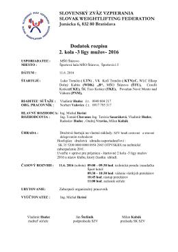 Dodatok rozpisu 2 kola- 3 ligy mužov 2016