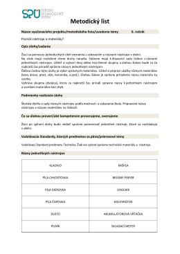 Metodický list - Poznáš nástroje a materiály?