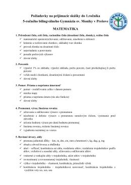 Požiadavky matematika - Gymnázium sv. Moniky