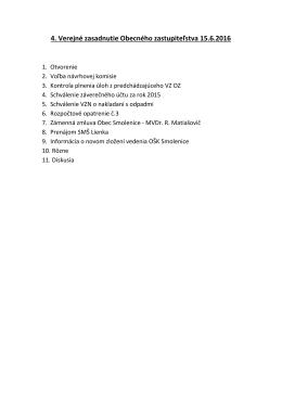 4. Verejné zasadnutie Obecného zastupiteľstva 15.6.2016