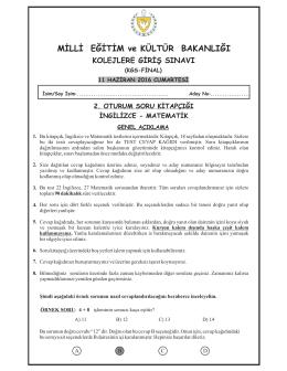 2. Oturum Soru Kitapçığı - KKTC Milli Eğitim ve Kültür Bakanlığı