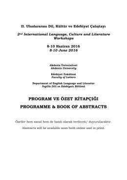 II. Uluslararası Dil, Kültür ve Edebiyat Çalıştayı 2nd