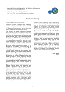 Editörden Mektup - İstanbul Üniversitesi İlahiyat Fakültesi Dergisi