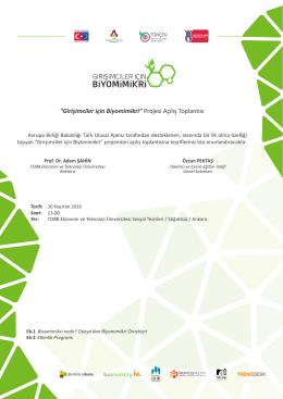 Girişimciler için Biyomimikri Projesi Açılış Toplantısı Davetiyesi