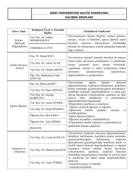 Çalışma Grupları - Siirt Üniversitesi