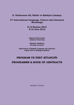 program ve özet kitapçığı programme & book of abstracts