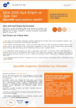 Ufuk 2020 Açık Erişim ve Açık Veri: OpenAIRE nasıl yardımcı olabilir?