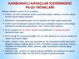 KARBONATLI KAYAÇLAR İÇERİSİNDEKİ Pb