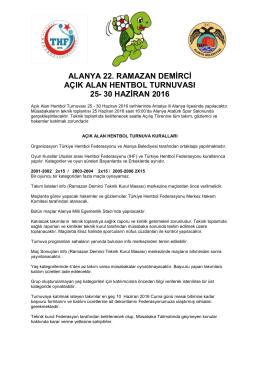 ramazan demirci hentbol turnuvası statü