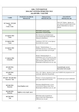 2016-2017 Akademik Takvimiİndir