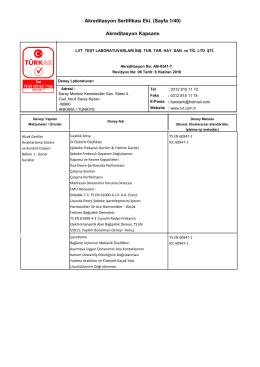 Akreditasyon Sertifikası Eki. (Sayfa 1/40) Akreditasyon Kapsamı