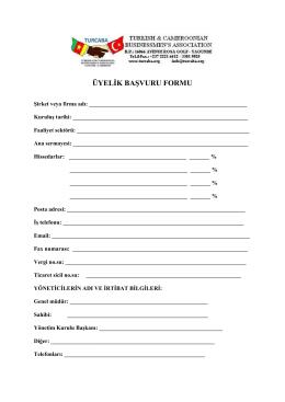 turcaba`ya üye olmak için üyelik başvuru