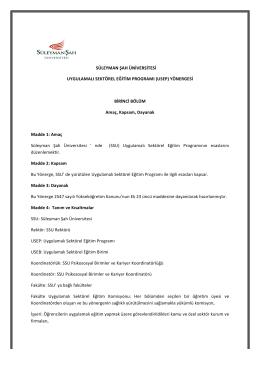 usep yönerge - Süleyman Şah Üniversitesi