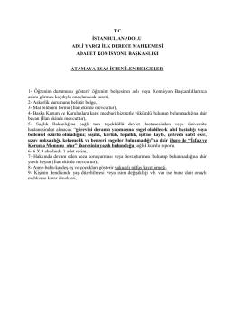 Atama İçin İstenilen Belgeler - TC İstanbul Anadolu Adalet Sarayı